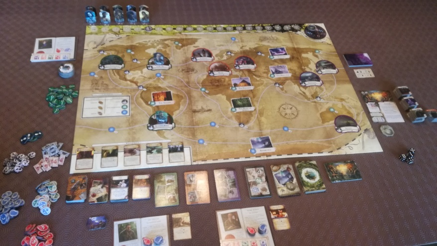 Eldritch Horror set up.