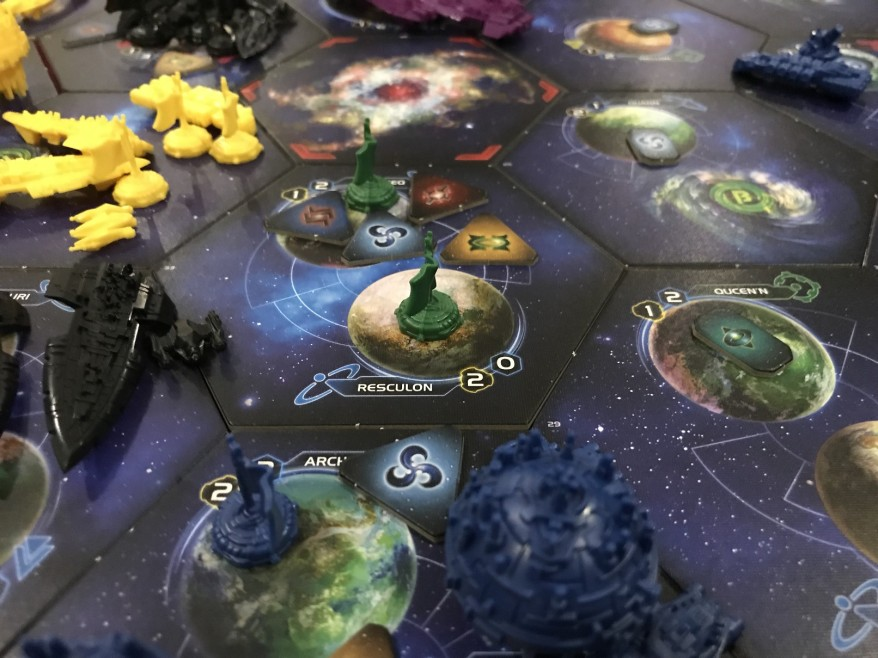 Twilight Imperium: Using diplomacy to block out the other players.