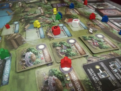 Mid game board with four players.