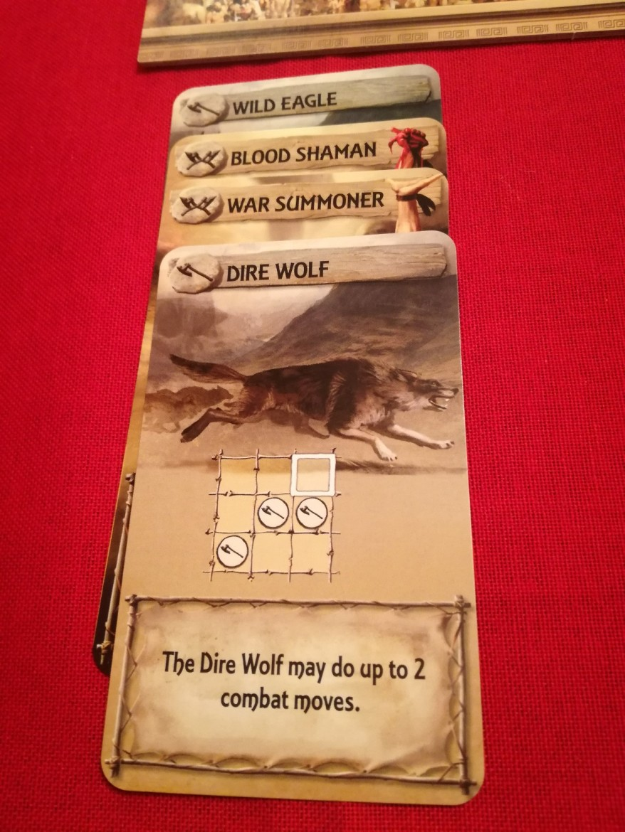 A series of faction cards with the Dire Wolf showing.
