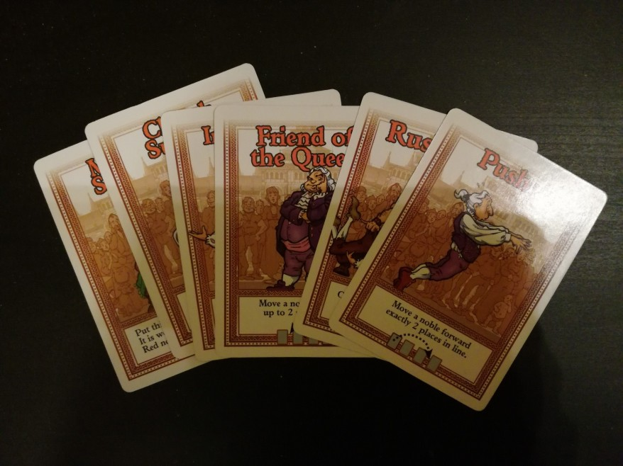 Some of the action cards (in very dim lighting)