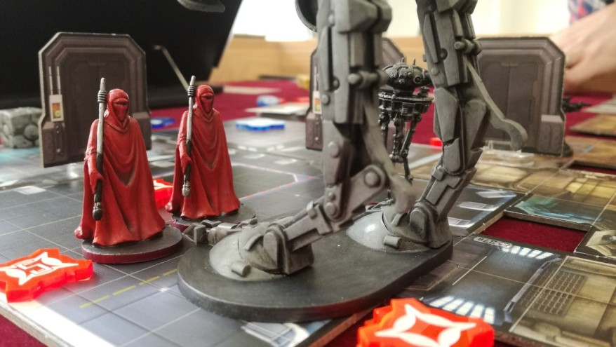 The Emperor's Guard getting blocked by an AT-ST. (What is Star Wars: Imperial Assault Like?)
