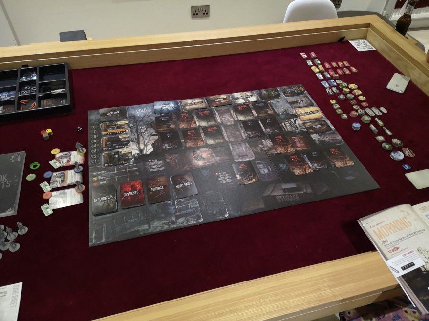 This War of Mine - The board set up for a 4 player game.