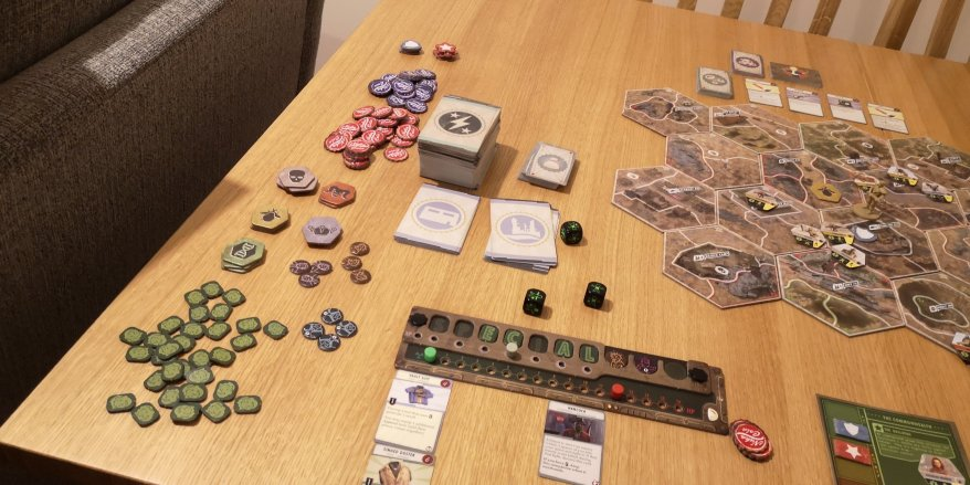 Playing solo - The Fallout Board Game - There are a lot of tokens.