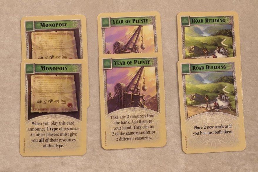Progress cards in Catan.